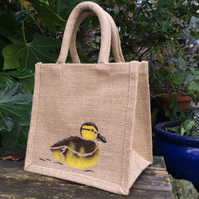 Duckling little jute bag hand painted