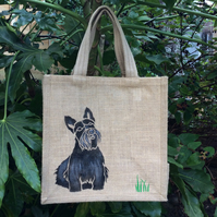 Scottie Scottish Terrier dog hand painted jute bag