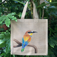 Bee Eater hand painted jute bag