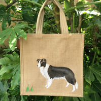 Border Collie dog hand painted jute bag