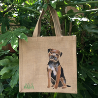 Border Terrier dog hand painted jute bag