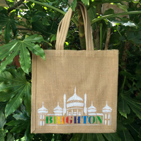 Brighton hand painted jute bag