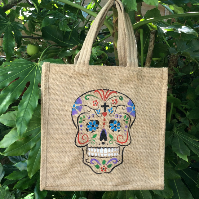 Day of The Dead hand painted jute bag