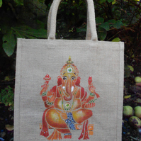 Ganesh hand painted jute bag
