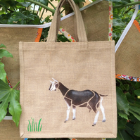 British Alpine Goat hand painted jute bag