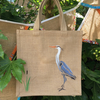 Heron hand painted jute bag