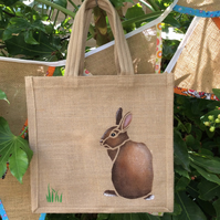 Rabbit hand painted jute bag