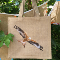 Red Kite hand painted jute bag