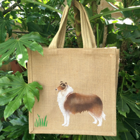 Rough Collie dog hand painted jute bag