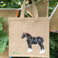 Shire or Heavy Horse Black hand painted jute bag