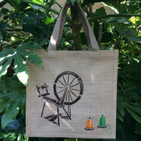 Spinning wheel hand painted jute bag