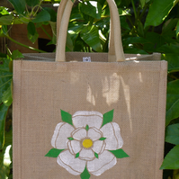 Yorkshire Rose hand painted jute bag