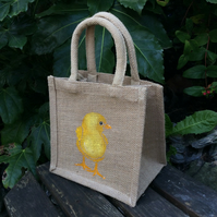 Chick hand painted little jute bag