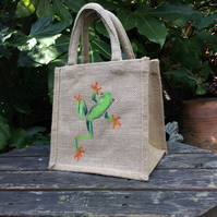 Tree Frog hand painted little jute bag