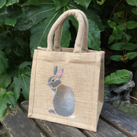 Bunny grey hand painted little jute bag