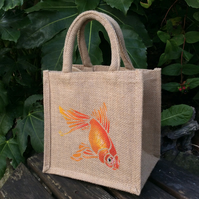Goldfish hand painted little jute bag