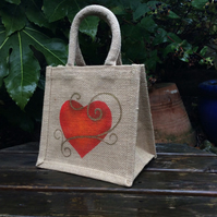 Heart hand painted little jute bag