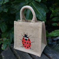 Ladybird hand painted little jute bag