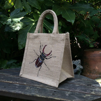 Stag Beetle hand painted little jute bag