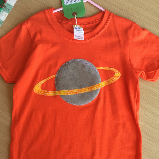 Saturn appliquéd orange T-shirt for child aged 5 - 6  years