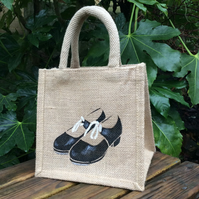 Tap Shoes Black hand painted little jute bag