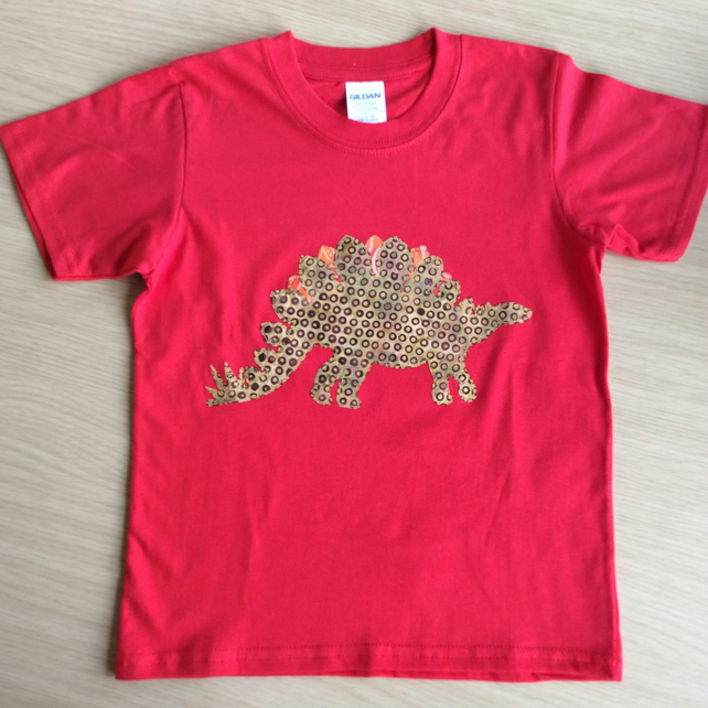 Stegosaurus appliquéd RED T-shirt for child aged 7 - 8 years