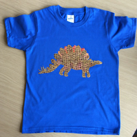 Stegosaurus appliquéd BLUE T-shirt for child aged 5 - 6 years