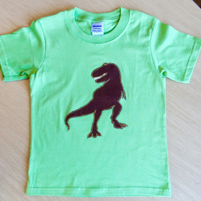 T Rex appliquéd GREEN T-shirt for child aged 3 - 4 years