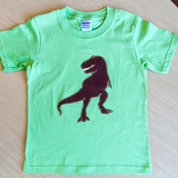 T Rex appliquéd GREEN T-shirt for child aged 7 - 8 years