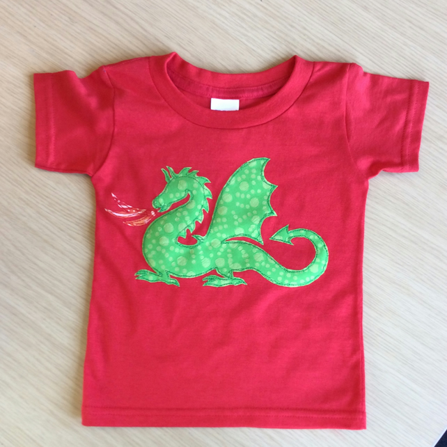 Dragon appliquéd RED T-shirt for child aged 2 years