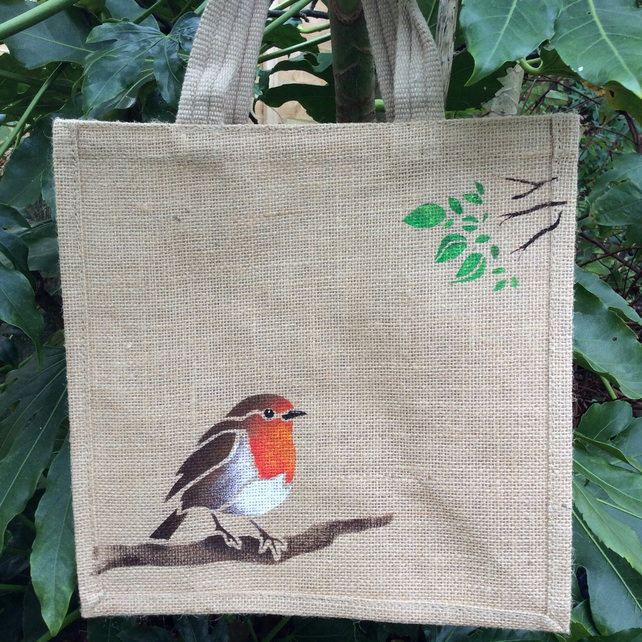 Robin garden bird jute eco bag hand painted