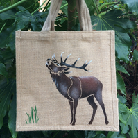 Stag hand painted jute bag