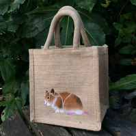 Hamster golden little jute bag hand painted