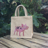 Piglet little jute bag hand painted
