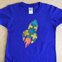 Rocket appliquéd Dark BLUE T-shirt for child aged 3 - 4  years