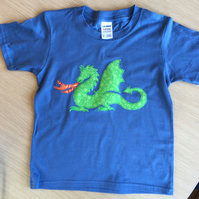 Dragon appliquéd Cobalt BLUE T-shirt for child aged 3 - 4 years