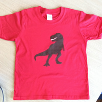 T Rex appliquéd RED T-shirt for child aged 5 - 6 years