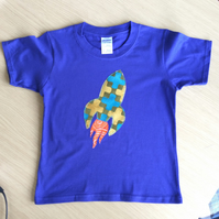 Rocket appliquéd BLUE T-shirt for child aged 3 - 4  years