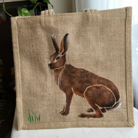Hare hand painted jute bag
