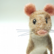 Little Brown Mouse , Needle Felted Mouse , wool soft scuplture