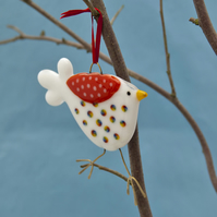 Fused Glass White and Rainbow Spotty Bird Decoration