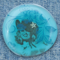 Fused Glass Cowgirl Brooch