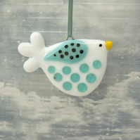 Fused Glass Little White and Turquoise Spotty Bird Decoration