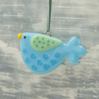 Fused Glass Little Turquoise Spotty Bird Decoration