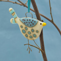 Fused Glass Cream and Blue Spotty Bird Decoration