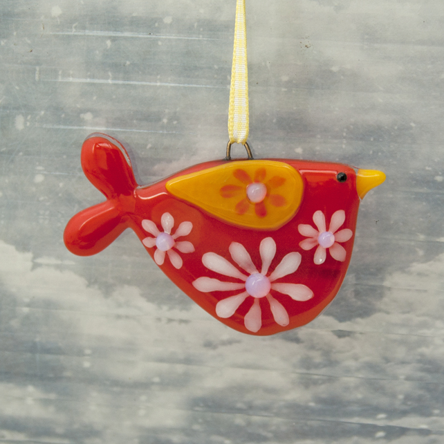 Fused Glass Red Flowery Bird Decoration