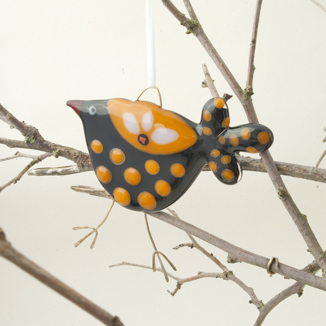 Fused Glass Black and Orange Spotty Bird Decoration