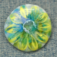 Fused Glass Yellow Flower Brooch