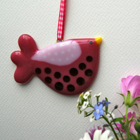 Pink Fused Glass Spotty Bird Decoration
