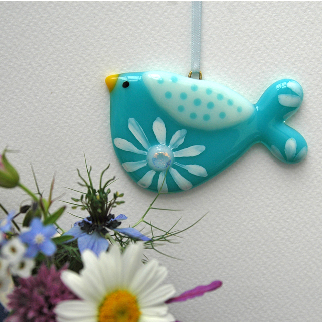 Turquoise Flowery Fused Glass Bird Decoration